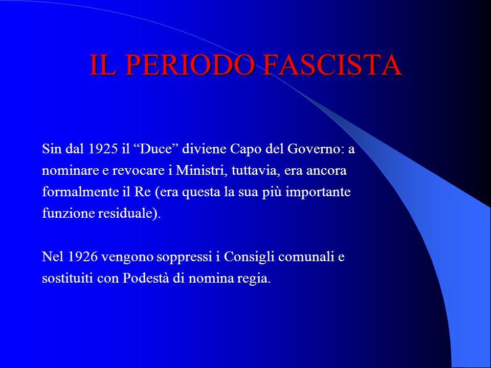 IL PERIODO FASCISTA Inizia la fascistizzazione dello Stato con lapprovazione delle cd. leggi fascistissime: legge 24 dicembre 1925: tutti i poteri ven