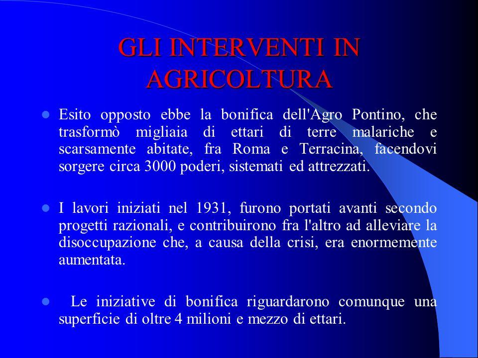 GLI INTERVENTI IN AGRICOLTURA Nel 1928 iniziò un programma di bonifica a livello nazionale: lo Stato avrebbe provveduto alle opere fondamentali (risan