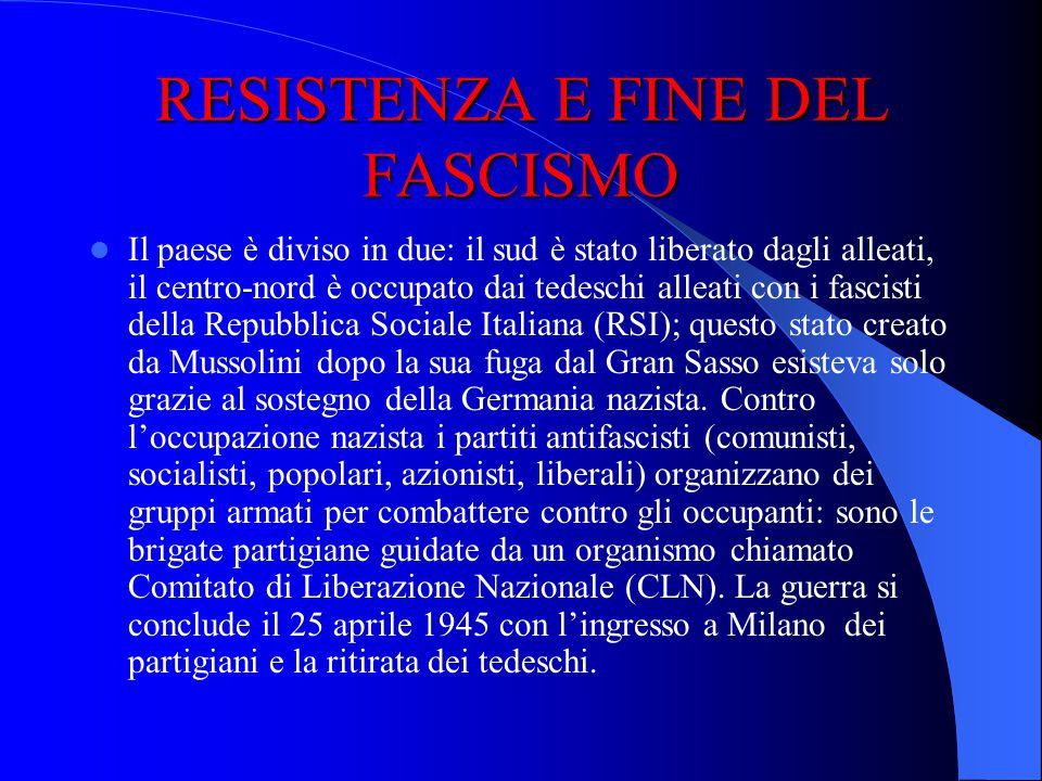 RESISTENZA E FINE DEL FASCISMO RESISTENZA E FINE DEL FASCISMO Mussolini è costretto a dimettersi il 25 luglio 1943 perché lItalia sta perdendo la guer