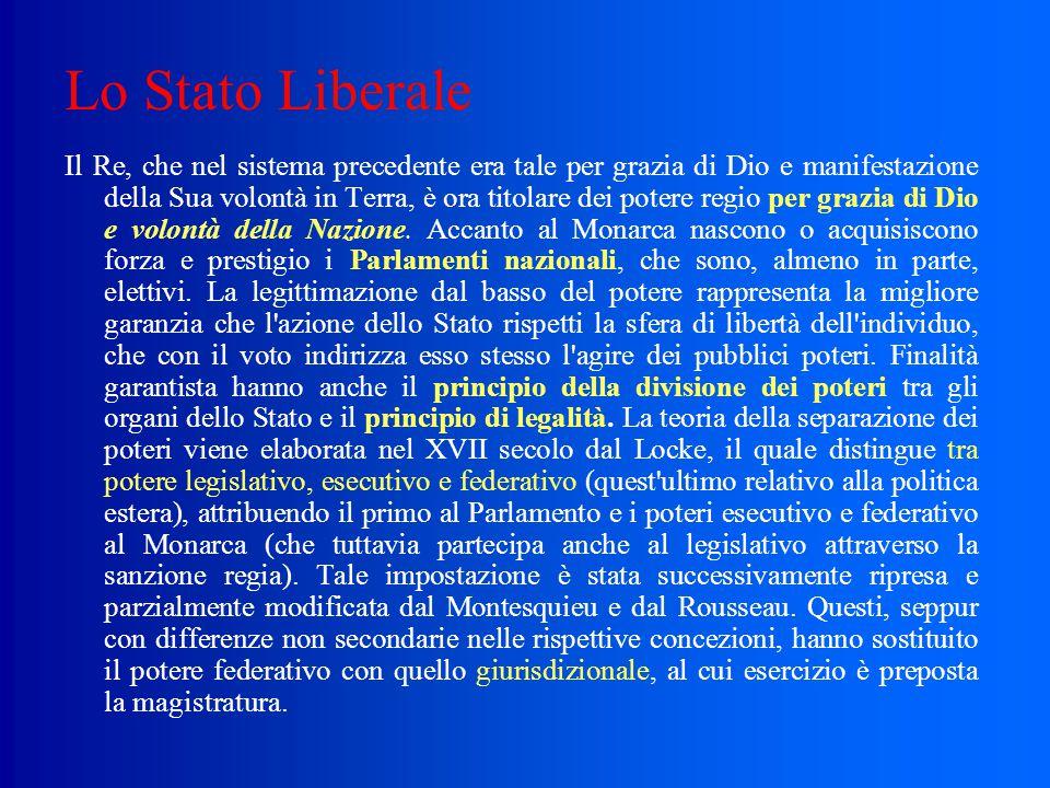 Lo Stato Liberale I pubblici poteri devono quindi astenersi dall'intervenire direttamente nella sfera di libertà riconosciuta ai singoli e devono limi