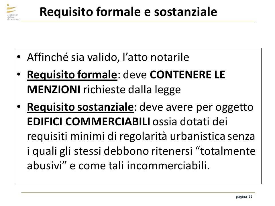 pagina 11 Requisito formale e sostanziale Affinché sia valido, latto notarile Requisito formale: deve CONTENERE LE MENZIONI richieste dalla legge Requ