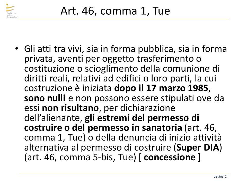 pagina 2 Art. 46, comma 1, Tue Gli atti tra vivi, sia in forma pubblica, sia in forma privata, aventi per oggetto trasferimento o costituzione o sciog