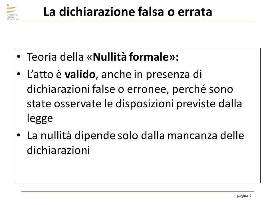 pagina 9 La dichiarazione falsa o errata Teoria della «Nullità formale»: Latto è valido, anche in presenza di dichiarazioni false o erronee, perché so