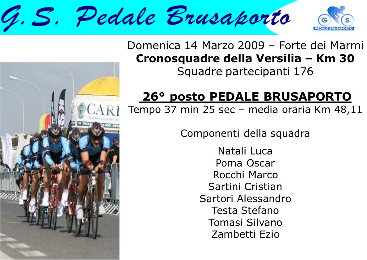 Domenica 14 Marzo 2009 – Forte dei Marmi Cronosquadre della Versilia – Km 30 Squadre partecipanti 176 26° posto PEDALE BRUSAPORTO Tempo 37 min 25 sec