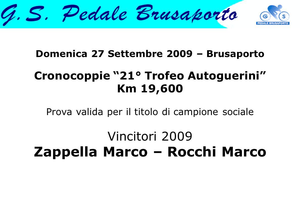 Domenica 27 Settembre 2009 – Brusaporto Cronocoppie 21° Trofeo Autoguerini Km 19,600 Prova valida per il titolo di campione sociale Vincitori 2009 Zappella Marco – Rocchi Marco
