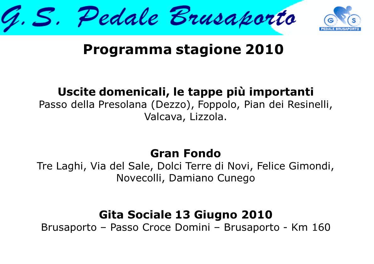 Programma stagione 2010 Uscite domenicali, le tappe più importanti Passo della Presolana (Dezzo), Foppolo, Pian dei Resinelli, Valcava, Lizzola. Gran