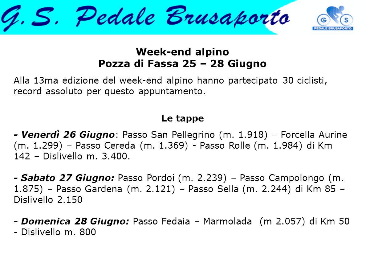 Week-end alpino Pozza di Fassa 25 – 28 Giugno Alla 13ma edizione del week-end alpino hanno partecipato 30 ciclisti, record assoluto per questo appuntamento.