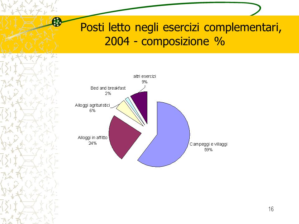 16 Posti letto negli esercizi complementari, 2004 - composizione %