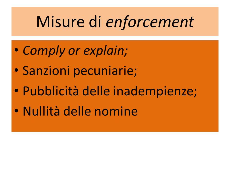 Misure di enforcement Comply or explain; Sanzioni pecuniarie; Pubblicità delle inadempienze; Nullità delle nomine