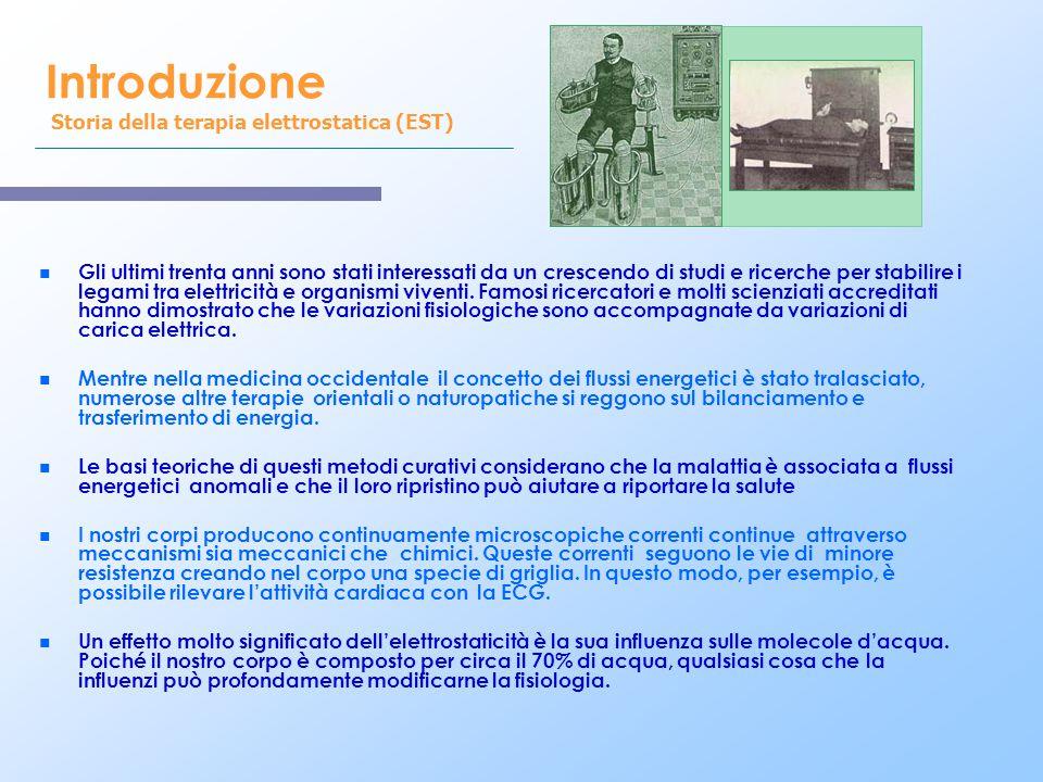 Introduzione Storia della terapia elettrostatica (EST) n n Gli ultimi trenta anni sono stati interessati da un crescendo di studi e ricerche per stabi