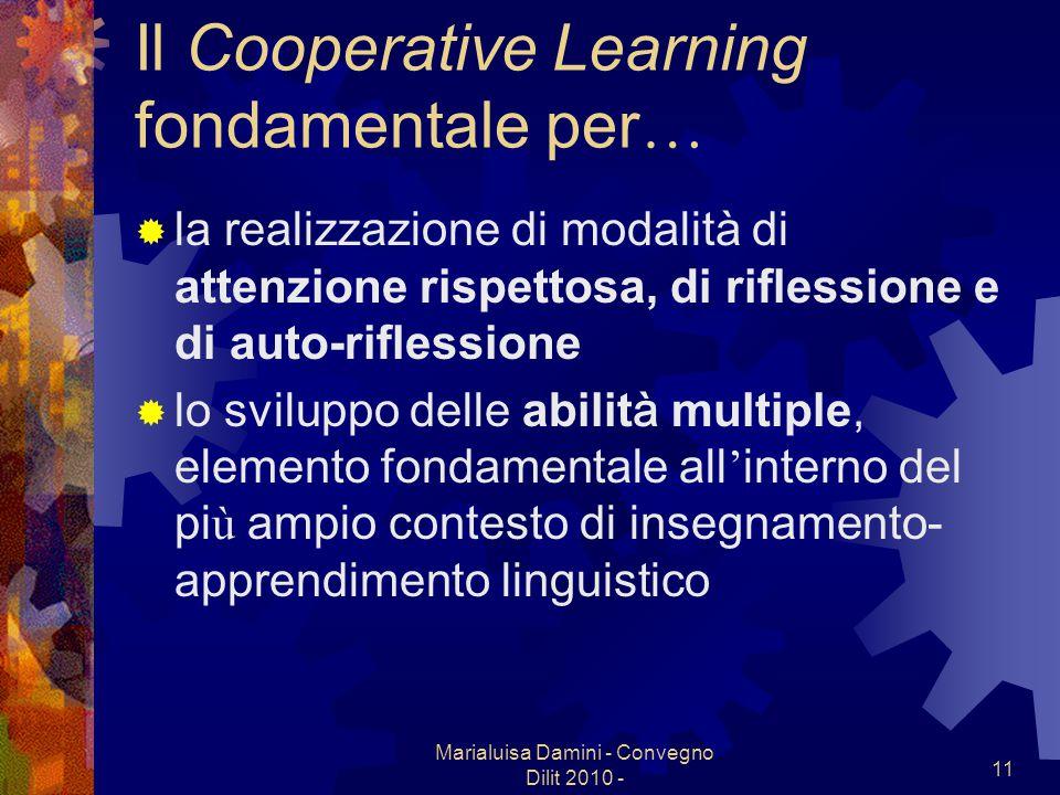 Marialuisa Damini - Convegno Dilit 2010 - 11 Il Cooperative Learning fondamentale per … la realizzazione di modalit à di attenzione rispettosa, di rif