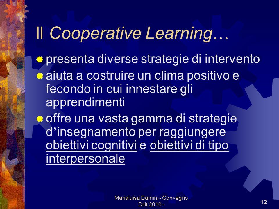 Marialuisa Damini - Convegno Dilit 2010 - 12 Il Cooperative Learning … presenta diverse strategie di intervento aiuta a costruire un clima positivo e