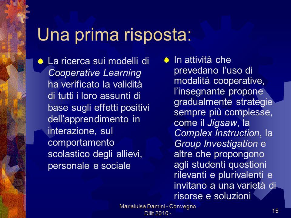 Marialuisa Damini - Convegno Dilit 2010 - 15 Una prima risposta: La ricerca sui modelli di Cooperative Learning ha verificato la validità di tutti i l