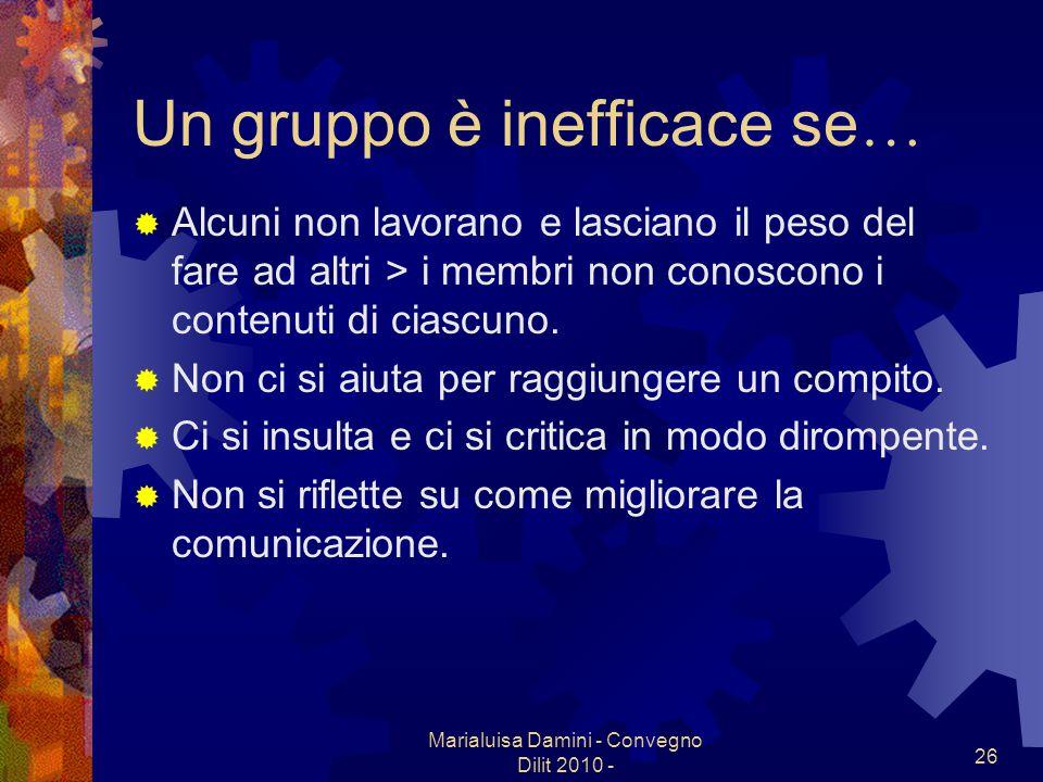Marialuisa Damini - Convegno Dilit 2010 - 26 Un gruppo è inefficace se … Alcuni non lavorano e lasciano il peso del fare ad altri > i membri non conos