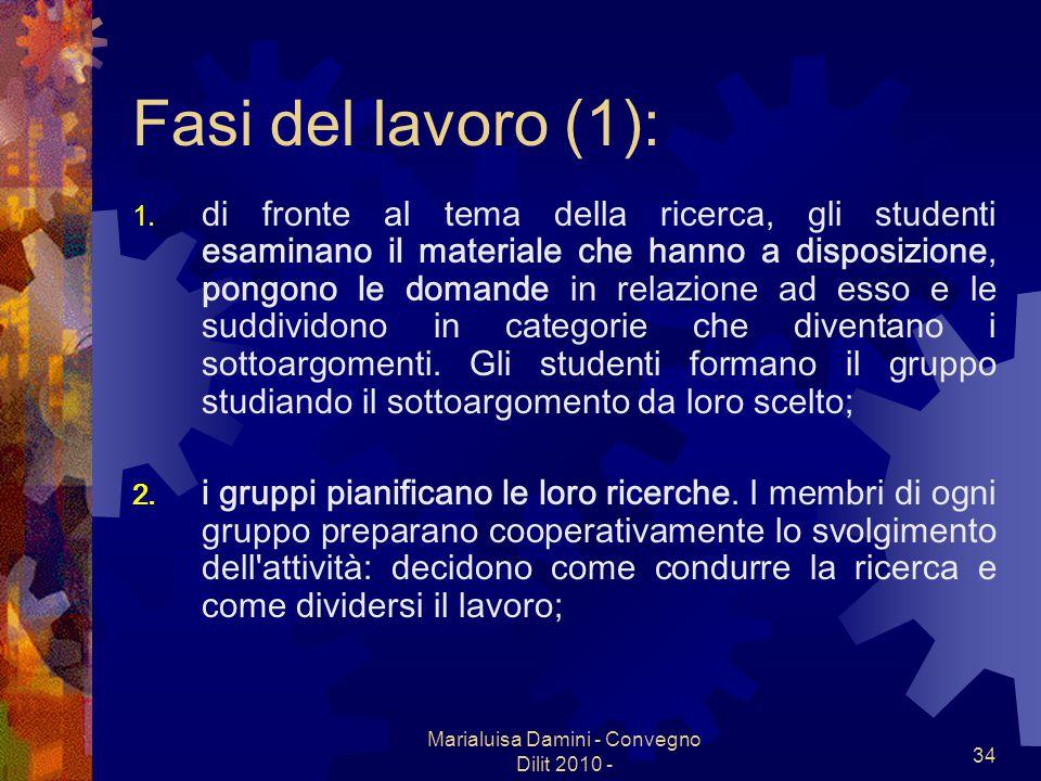 Marialuisa Damini - Convegno Dilit 2010 - 34 Fasi del lavoro (1): 1. di fronte al tema della ricerca, gli studenti esaminano il materiale che hanno a