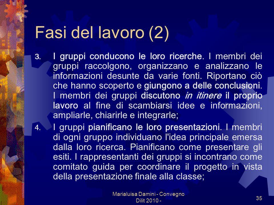 Marialuisa Damini - Convegno Dilit 2010 - 35 Fasi del lavoro (2) 3. I gruppi conducono le loro ricerche. I membri dei gruppi raccolgono, organizzano e
