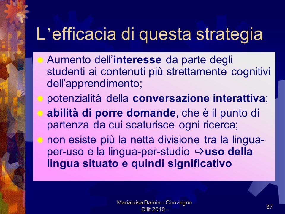 Marialuisa Damini - Convegno Dilit 2010 - 37 L efficacia di questa strategia Aumento dellinteresse da parte degli studenti ai contenuti più strettamen