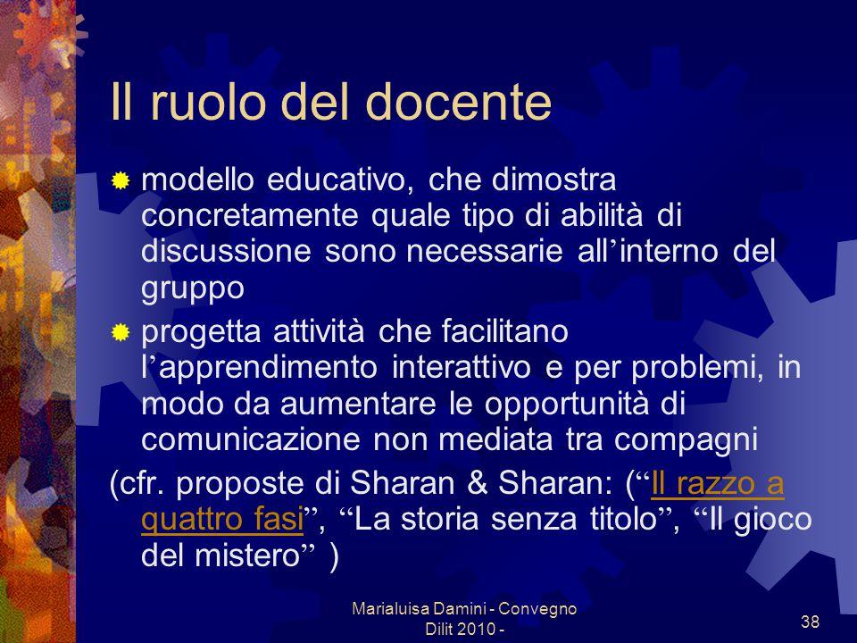 Marialuisa Damini - Convegno Dilit 2010 - 38 Il ruolo del docente modello educativo, che dimostra concretamente quale tipo di abilità di discussione s