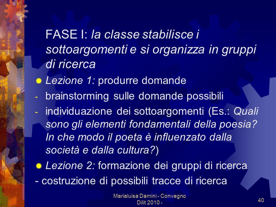Marialuisa Damini - Convegno Dilit 2010 - 40 FASE I: la classe stabilisce i sottoargomenti e si organizza in gruppi di ricerca Lezione 1: produrre dom
