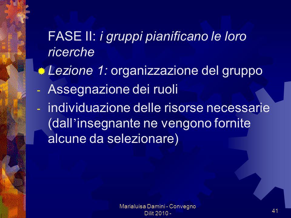 Marialuisa Damini - Convegno Dilit 2010 - 41 FASE II: i gruppi pianificano le loro ricerche Lezione 1: organizzazione del gruppo - Assegnazione dei ru