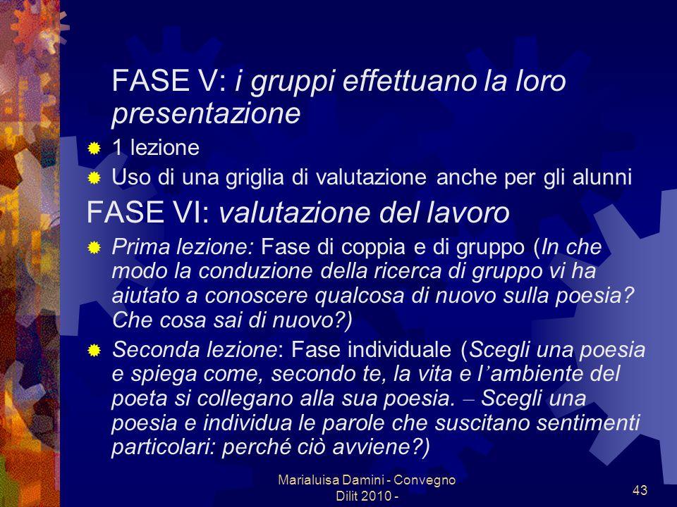 Marialuisa Damini - Convegno Dilit 2010 - 43 FASE V: i gruppi effettuano la loro presentazione 1 lezione Uso di una griglia di valutazione anche per g