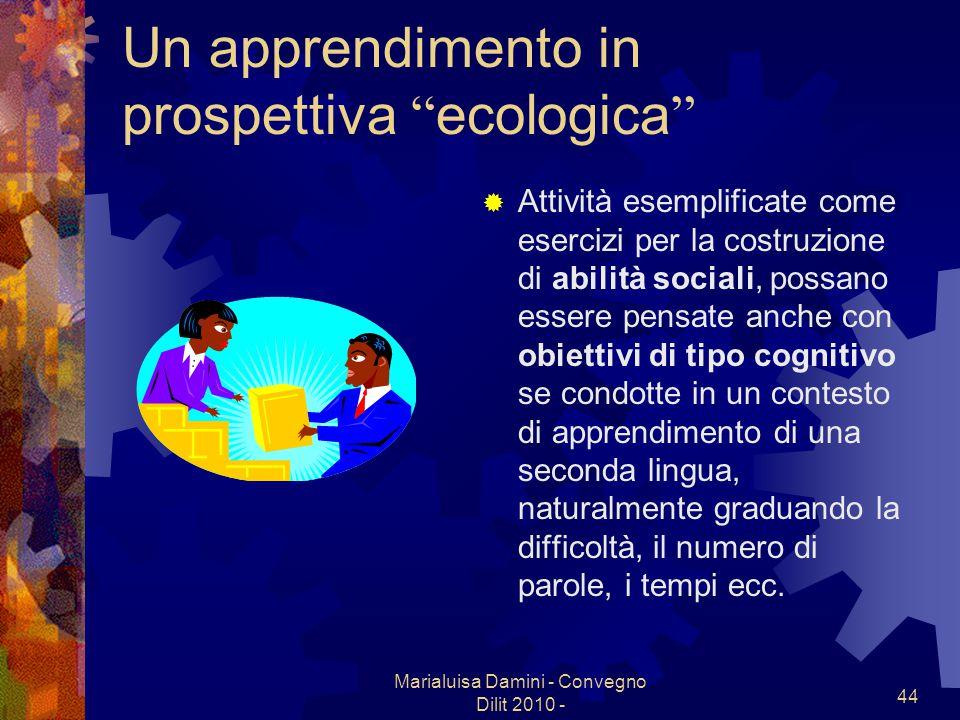 Marialuisa Damini - Convegno Dilit 2010 - 44 Un apprendimento in prospettiva ecologica Attività esemplificate come esercizi per la costruzione di abil