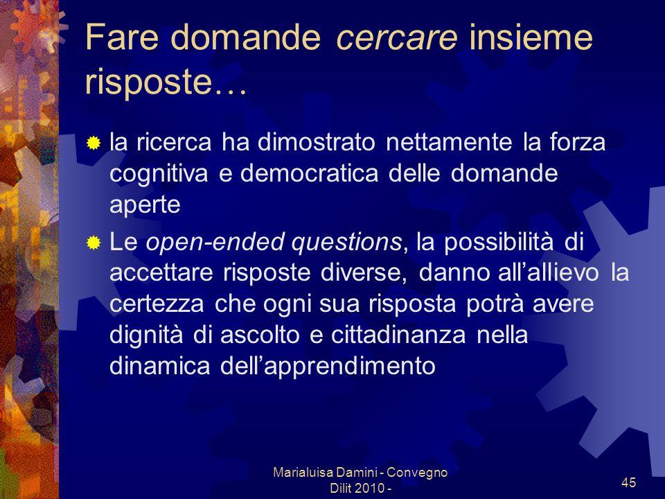 Marialuisa Damini - Convegno Dilit 2010 - 45 Fare domande cercare insieme risposte … la ricerca ha dimostrato nettamente la forza cognitiva e democrat