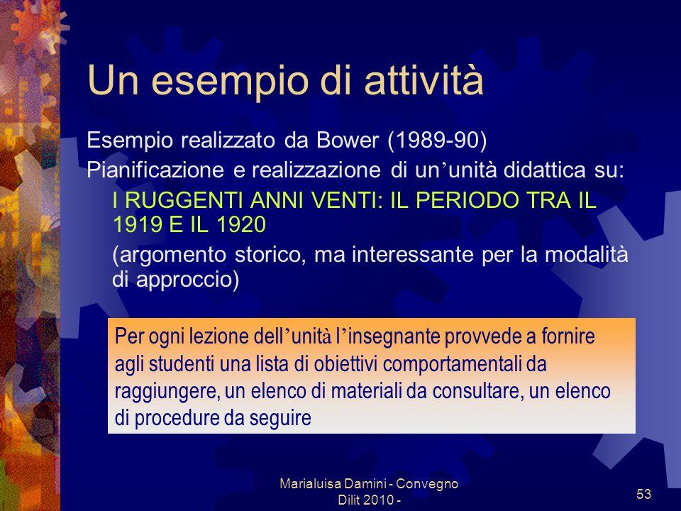 Marialuisa Damini - Convegno Dilit 2010 - 53 Un esempio di attivit à Esempio realizzato da Bower (1989-90) Pianificazione e realizzazione di un unit à