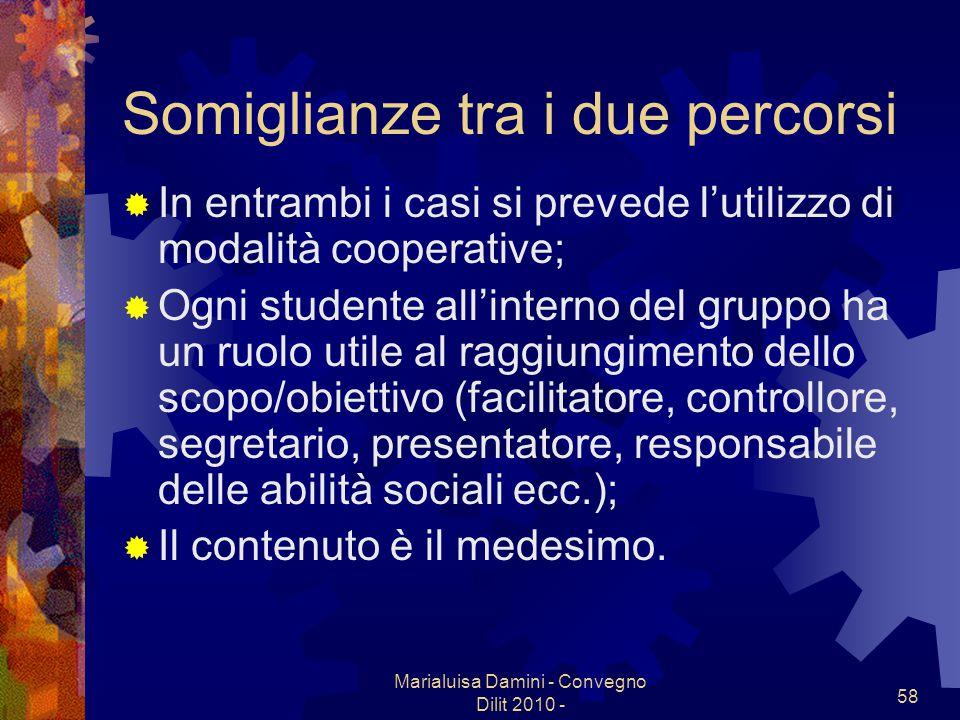 Marialuisa Damini - Convegno Dilit 2010 - 58 Somiglianze tra i due percorsi In entrambi i casi si prevede lutilizzo di modalità cooperative; Ogni stud