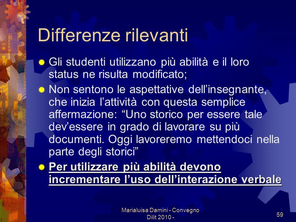 Marialuisa Damini - Convegno Dilit 2010 - 59 Differenze rilevanti Gli studenti utilizzano più abilità e il loro status ne risulta modificato; Non sent