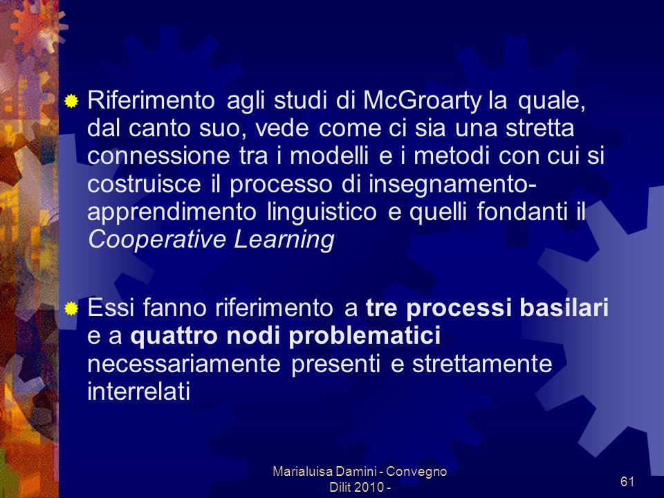 Marialuisa Damini - Convegno Dilit 2010 - 61 Riferimento agli studi di McGroarty,la quale, dal canto suo, vede come ci sia una stretta connessione tra