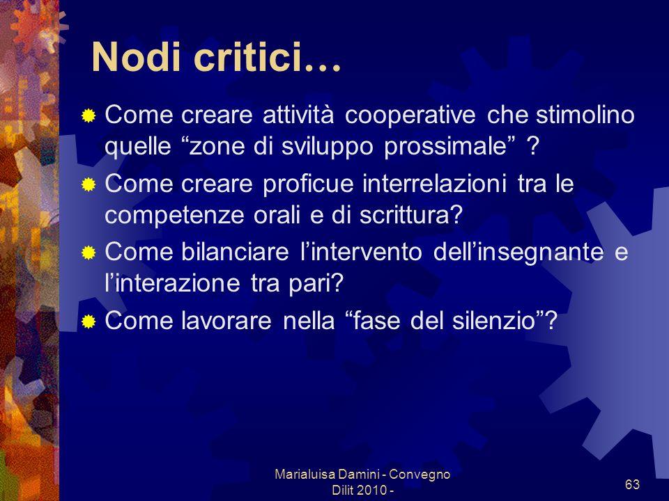 Marialuisa Damini - Convegno Dilit 2010 - 63 Nodi critici … Come creare attività cooperative che stimolino quelle zone di sviluppo prossimale ? Come c