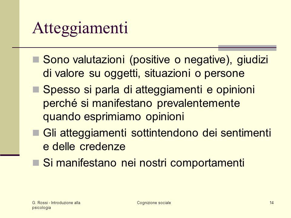 G. Rossi - Introduzione alla psicologia Cognizione sociale14 Atteggiamenti Sono valutazioni (positive o negative), giudizi di valore su oggetti, situa