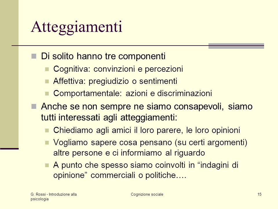 G. Rossi - Introduzione alla psicologia Cognizione sociale15 Atteggiamenti Di solito hanno tre componenti Cognitiva: convinzioni e percezioni Affettiv