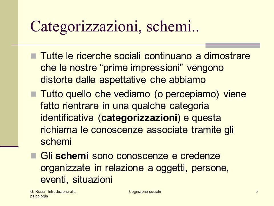 G. Rossi - Introduzione alla psicologia Cognizione sociale5 Categorizzazioni, schemi.. Tutte le ricerche sociali continuano a dimostrare che le nostre