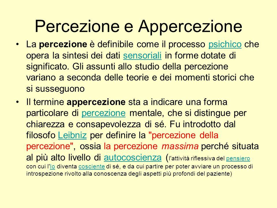 Percezione e Appercezione La percezione è definibile come il processo psichico che opera la sintesi dei dati sensoriali in forme dotate di significato.