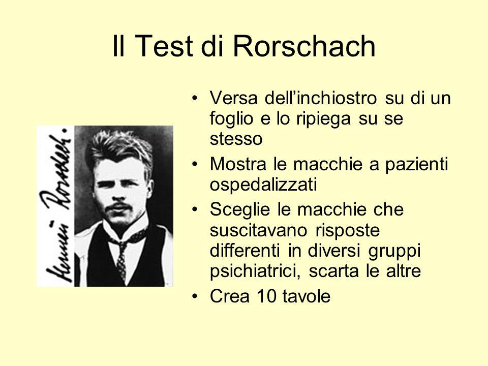 Il Test di Rorschach Versa dellinchiostro su di un foglio e lo ripiega su se stesso Mostra le macchie a pazienti ospedalizzati Sceglie le macchie che suscitavano risposte differenti in diversi gruppi psichiatrici, scarta le altre Crea 10 tavole