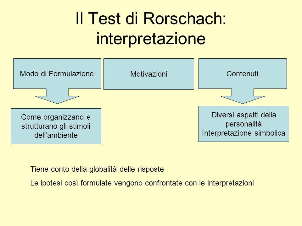 Il Test di Rorschach: interpretazione Modo di Formulazione Come organizzano e strutturano gli stimoli dellambiente Contenuti Diversi aspetti della personalità Interpretazione simbolica Motivazioni Tiene conto della globalità delle risposte Le ipotesi così formulate vengono confrontate con le interpretazioni