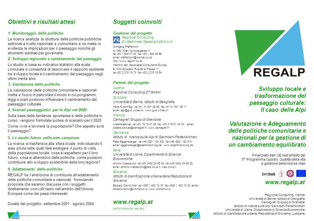 Soggetti coinvolti Gestione del progetto Regional Consulting Ziviltechniker Gesellschaft m.b.H.