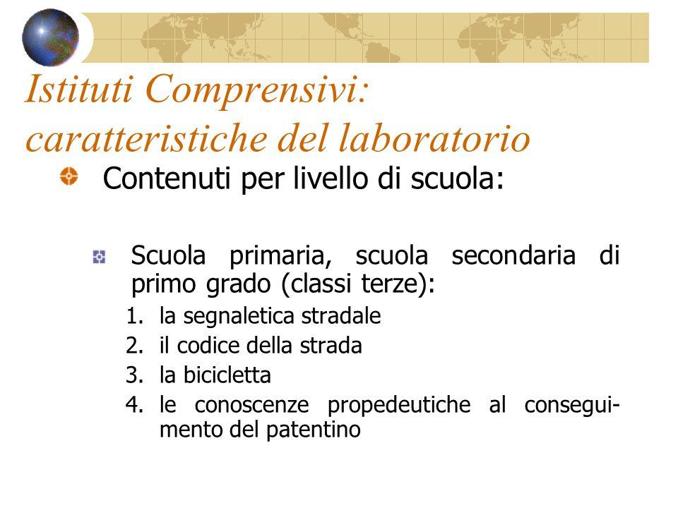 Istituti Comprensivi: caratteristiche del laboratorio Contenuti per livello di scuola: Scuola primaria, scuola secondaria di primo grado (classi terze