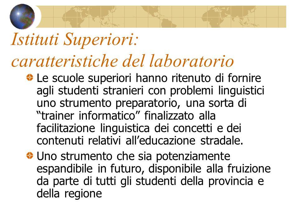 Istituti Superiori: caratteristiche del laboratorio Le scuole superiori hanno ritenuto di fornire agli studenti stranieri con problemi linguistici uno