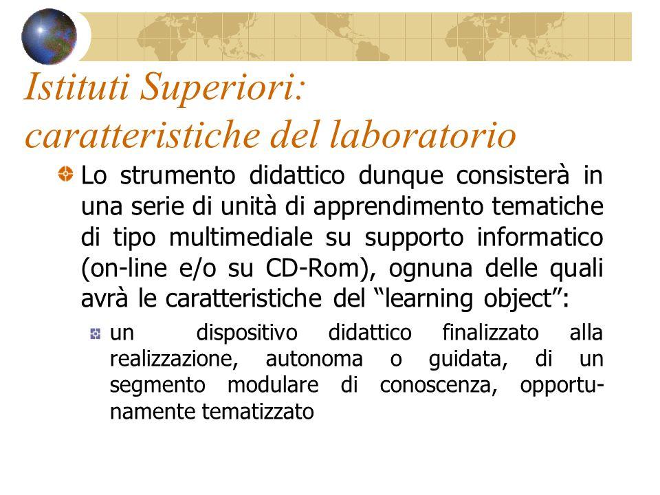 Istituti Superiori: caratteristiche del laboratorio Lo strumento didattico dunque consisterà in una serie di unità di apprendimento tematiche di tipo