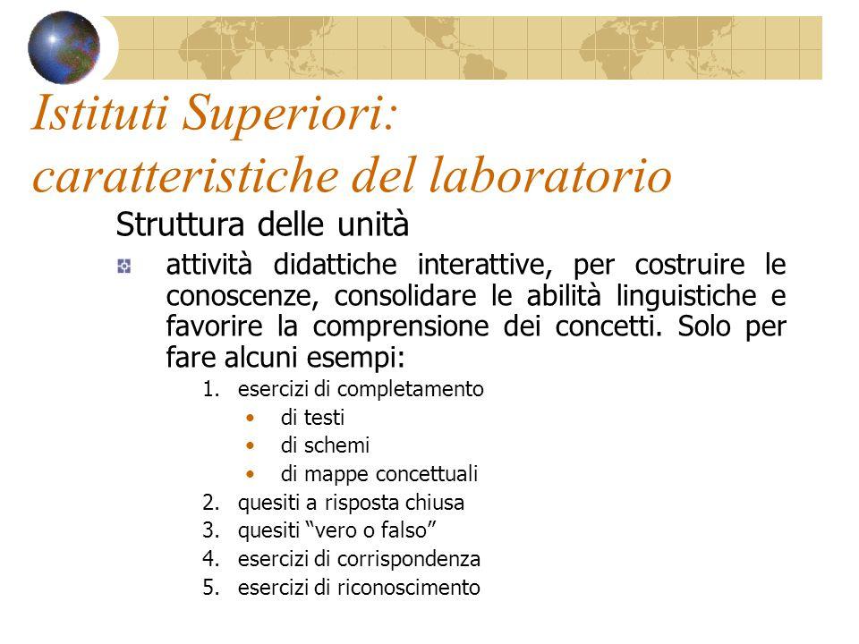 Istituti Superiori: caratteristiche del laboratorio Struttura delle unità attività didattiche interattive, per costruire le conoscenze, consolidare le abilità linguistiche e favorire la comprensione dei concetti.