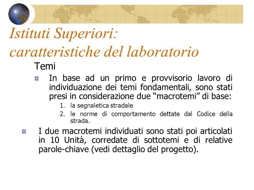 Istituti Superiori: caratteristiche del laboratorio Temi In base ad un primo e provvisorio lavoro di individuazione dei temi fondamentali, sono stati