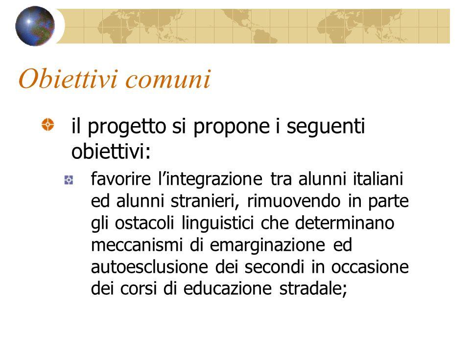 Obiettivi comuni il progetto si propone i seguenti obiettivi: favorire lintegrazione tra alunni italiani ed alunni stranieri, rimuovendo in parte gli