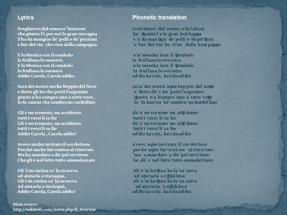 LyricsPhonetic translation Svegliatevi dal sonno o briaconi zve ʎ ' ʎ atevi 'dal 'sonno o bri'akoni che giunta lè per noi la gran cuccagna 'ke ' ʤ unt