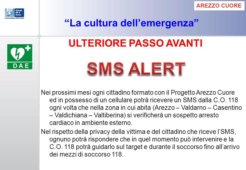 Nei prossimi mesi ogni cittadino formato con il Progetto Arezzo Cuore ed in possesso di un cellulare potrà ricevere un SMS dalla C.O. 118 ogni volta c