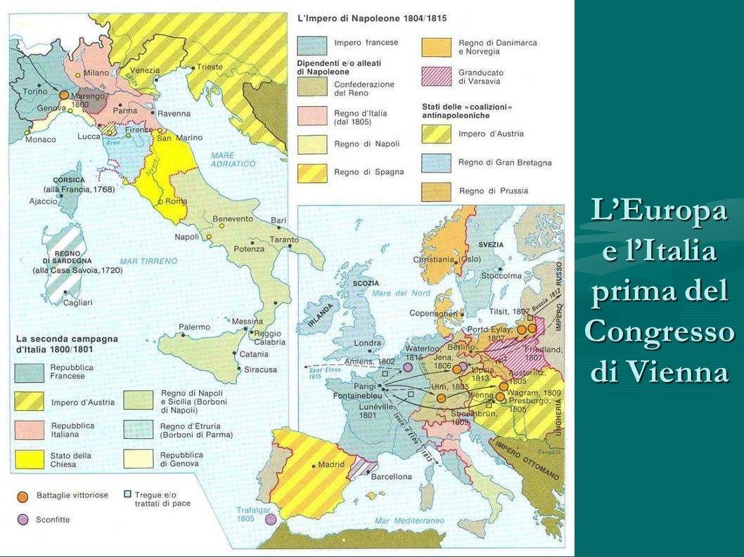 LItalia A nord abbiamo il Regno di Sardegna Sempre a nord abbiamo il Lombardo- Veneto (sotto il dominio austriaco) Sempre a nord abbiamo il Lombardo- Veneto (sotto il dominio austriaco) Ducato di Parma Ducato di Modena Gran ducato di Toscana Stato della chiesa Regno delle due Sicilie