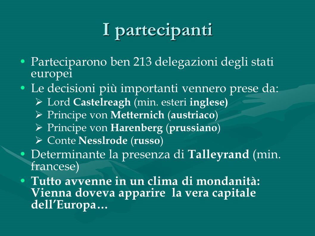 I partecipanti Parteciparono ben 213 delegazioni degli stati europei Le decisioni più importanti vennero prese da: Lord Castelreagh (min. esteri ingle