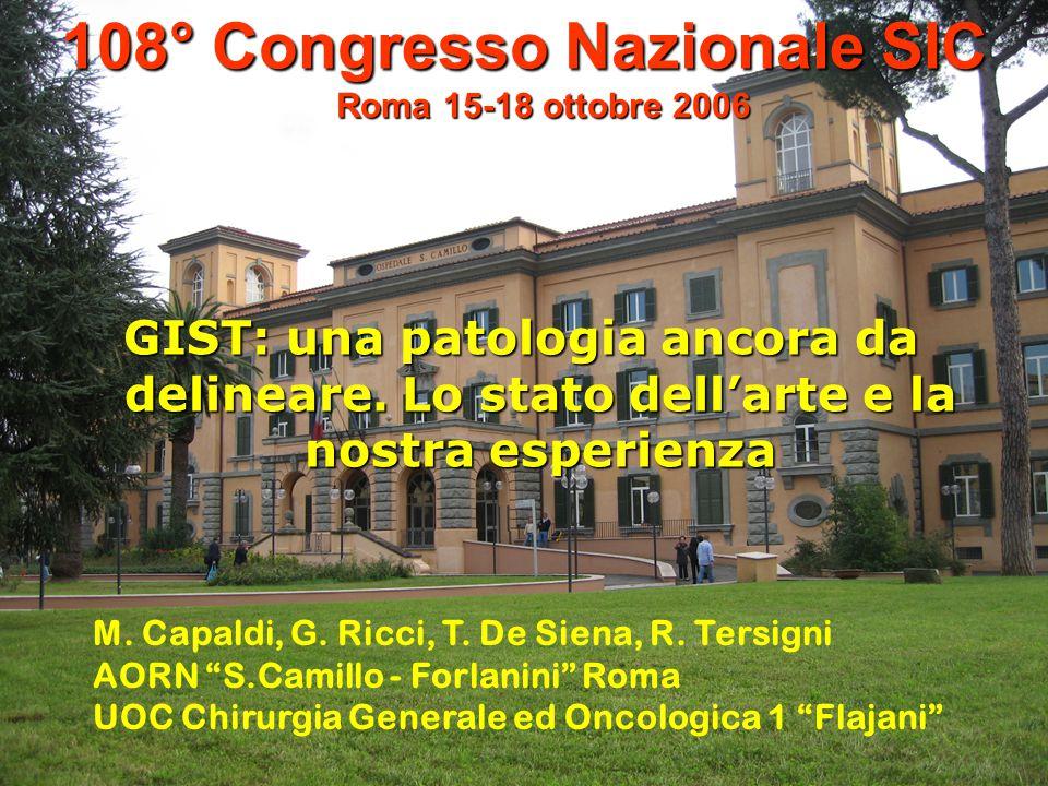 1ccc 1 108° Congresso Nazionale SIC Roma 15-18 ottobre 2006 GIST: una patologia ancora da delineare. Lo stato dellarte e la nostra esperienza M. Capal